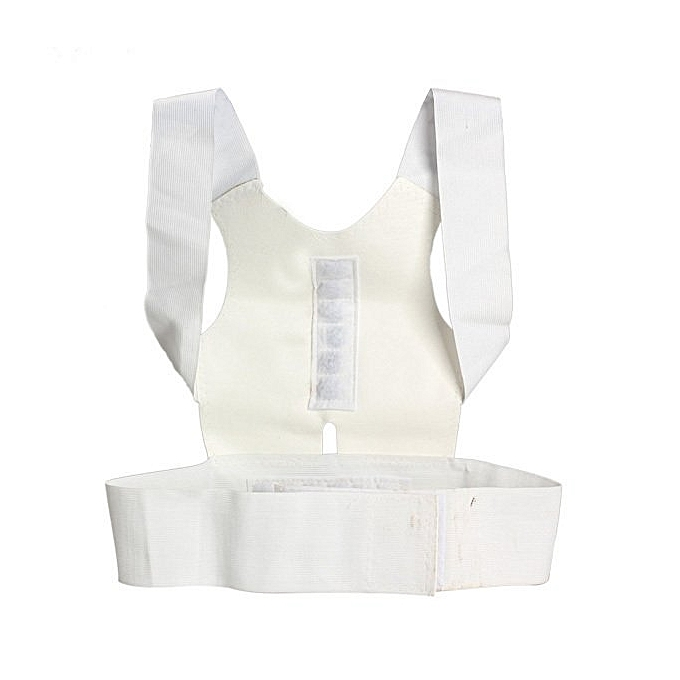 Magnetic Therapy Back Shoulder Corrector Support Brace Belt - White