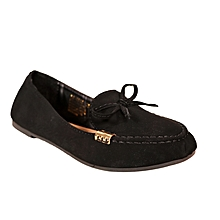 d7705356214 Suede Bow Detail Ballerina Flats - Black