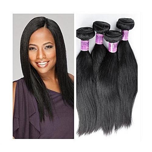 "Straight Indian Virgin Human Hair - 4 Piece - 14"" - Natural Black"