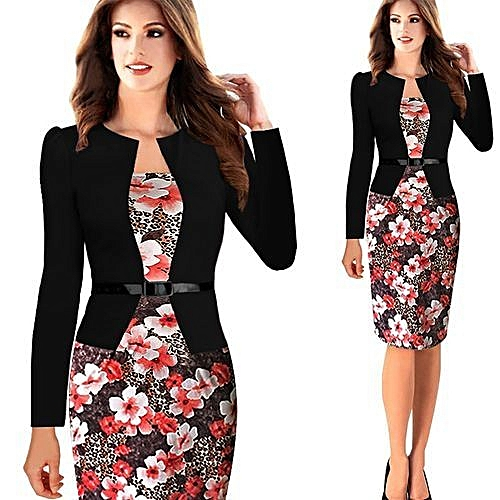 1ec18d0f82da2a Women Office Dress Plus Size Faux Jacket One-Piece Bodycon Vestidos  Patchwork Elegant Summer Wear