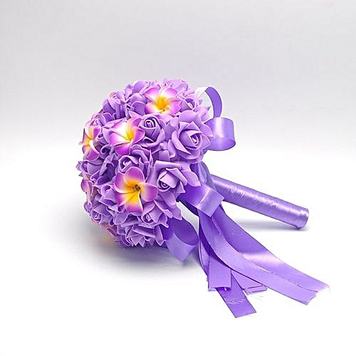 Crystal Roses Bridesmaid Wedding Bouquet Bridal Artificial Silk Flowers -Purple, Neworldline
