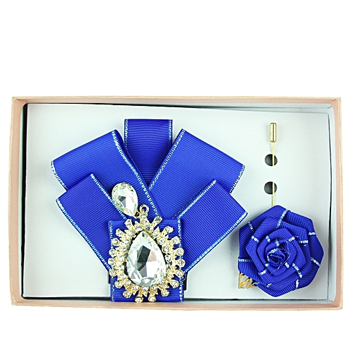 Rhinestone Detail Bow Tie Set - Royal Blue