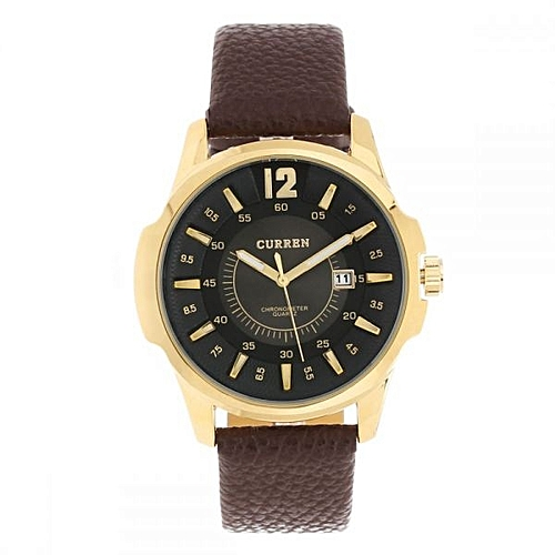 Leather Chronograph Analog Wrist Watch - Brown/Black
