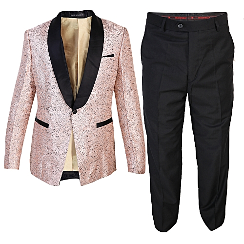 Floral 2-Piece Slim Fit Tuxedo - Peach/Black