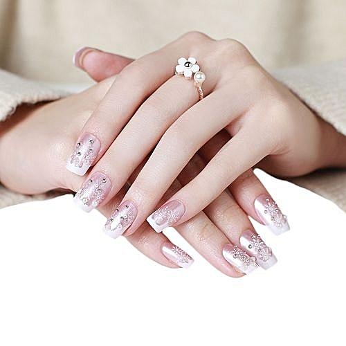 Nails Bride Manicure Set Series Nail Patch 1 Box 24 Tablets Nail Paste-as Shown