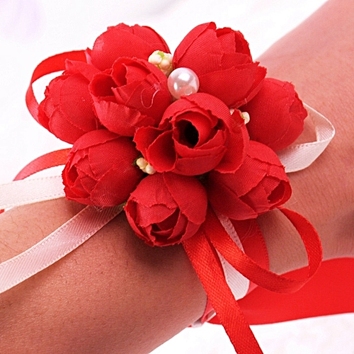 Bridesmaid Bride Wedding Supplies Wrist Corsage Party Prom Ribbon Hand Flower Decor Color:Red