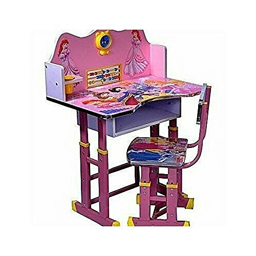 Buy White Label Kids Study Table Amp Chair Set Pink Online