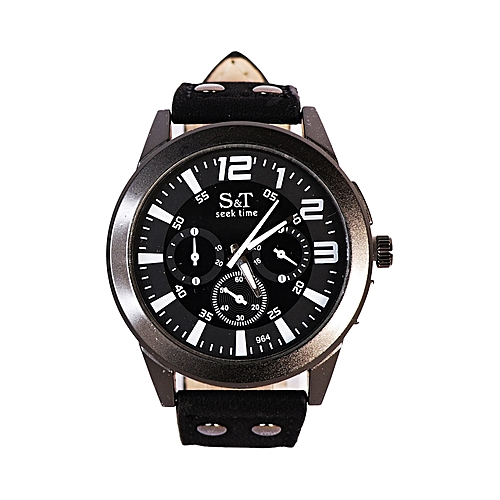 Leather Analog Wrist Watch - Black