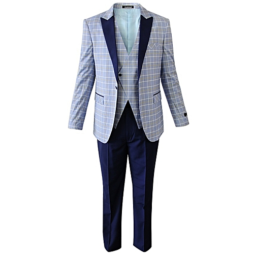 Single Button Checkered Tuxedos - Grey