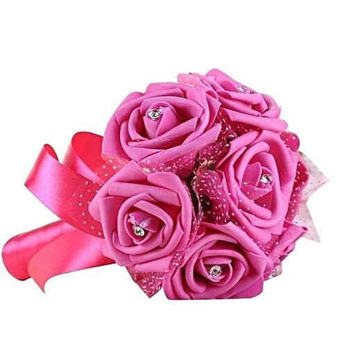 Crystal Roses Pearl Bridesmaid Wedding Bouquet Bridal Artificial Silk Flower HOT