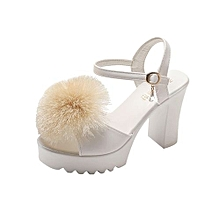88b1725c11852 Blicool Shoes Women Fish Mouth Hairball Platform High Heels Wedges Sandals  Buckle Slope Shoes White