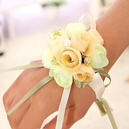 Bridesmaid Bride Wedding Supplies Wrist Corsage Party Prom Ribbon Hand Flower Decor Color:Champagne