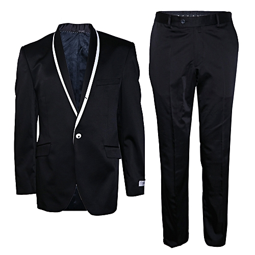 2-Piece Slim Fit Suit - Black/White