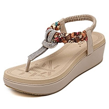 fbdfd3deb89319 Large Size Women Shoes Beach Sandals Shoes 5cm Heels Rhinestone With  Leisure-apricot