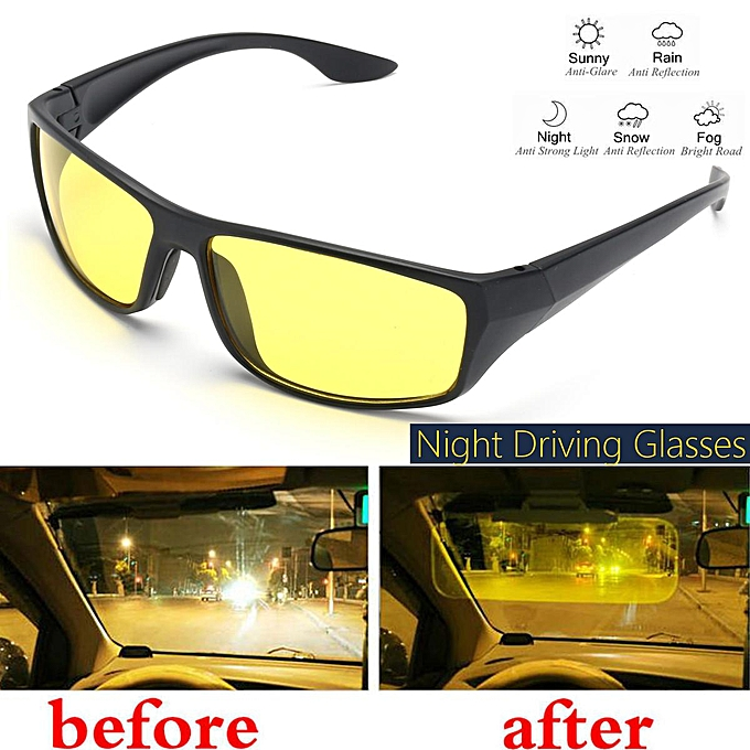 c26f7252681 Night Driving Glasses Anti Glare Vision Driver Safety Sunglasses - Black  Yellow
