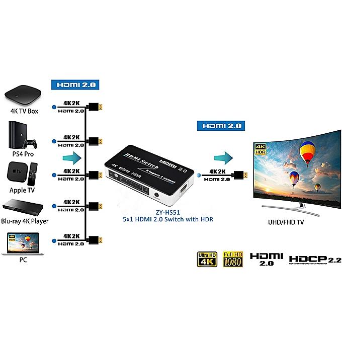 Mini HDMI 2 0 Switch HDR HDCP 2 2 3x1 5x1 HDMI Switch 2 0 4K HDMI Switch  HUB Box 3 / 5 Port HDMI Switch Switcher 4K for PS4 Pro WOEDB