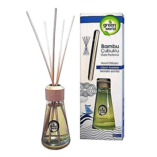 Green World Air Freshener With Bamboo Sticks Clean Breeze 75ml