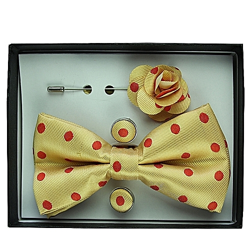 Polka Dot Bow-Tie Set - Gold