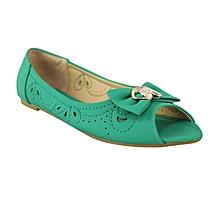 56c50b251bd Bow Detail Peep Toe Ballerina Shoes - Mint Green