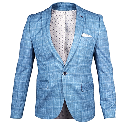 Single Button Slim Fit Suit - Sea Blue