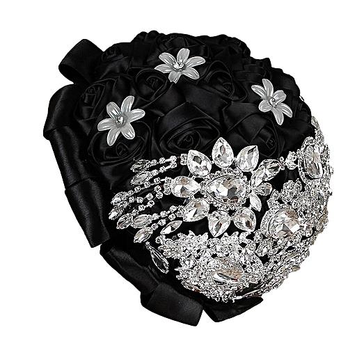 Luxury Style Bride Artificial Rhinestone Rose Silk Flowers Wedding Bouquet