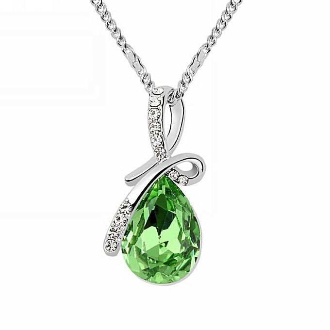Buy austrian crystal teardrop pendant necklace green jumia ghana austrian crystal teardrop pendant necklace green mozeypictures Images