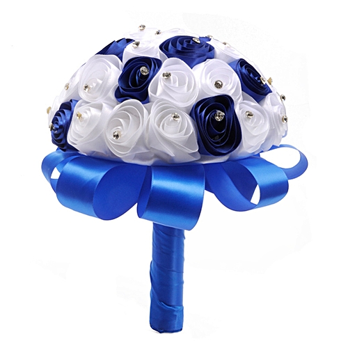 Romantic Simulate Bridal Bouquet With Ribbon & Rhinestone Artificial Wedding Flowers Home Party Wedding Decoration Gift Style:sapphire