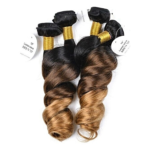 "Twist Curl Peruvian Human Hair Weave - 4 Piece - 18"" - 1B/Blonde"