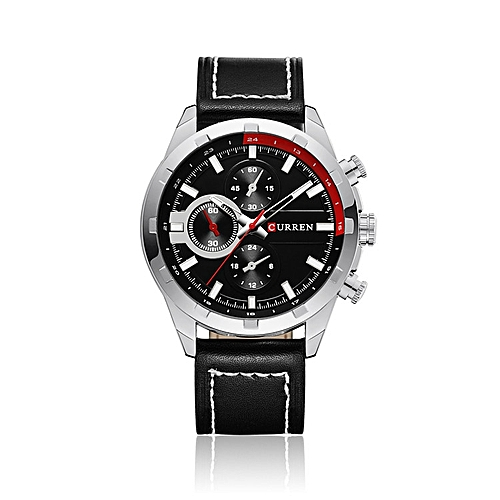 Leather Analog Wrist Watch - Black/Silver