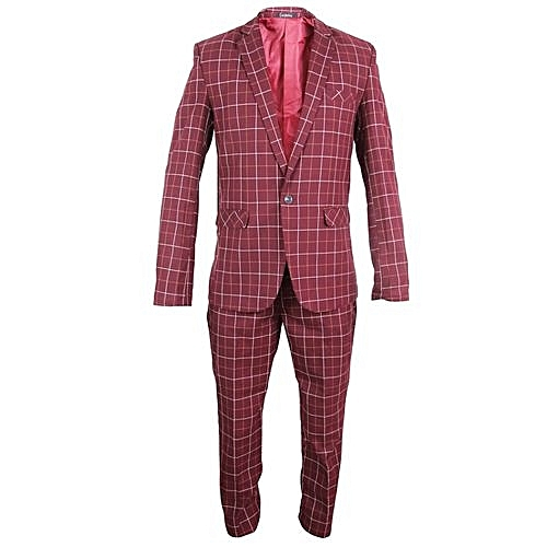 Two Piece Checkered Slim Fit Suit - Red