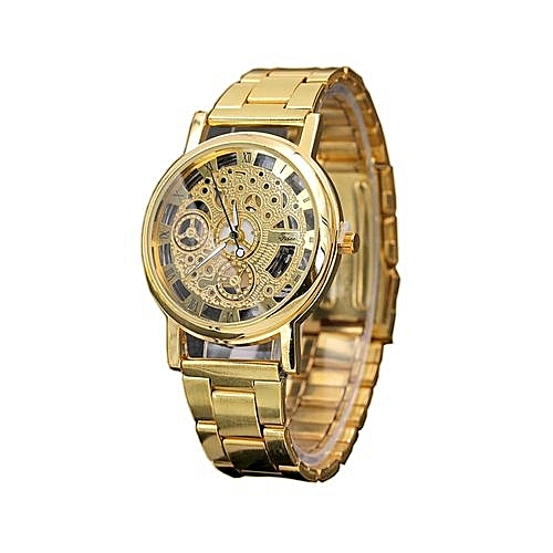 Luxury Stainless Steel Skeleton Wrist Watch - Gold