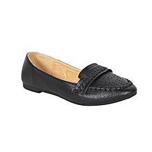db4c132c834 Perforated Ballerina Flat Shoes - Black