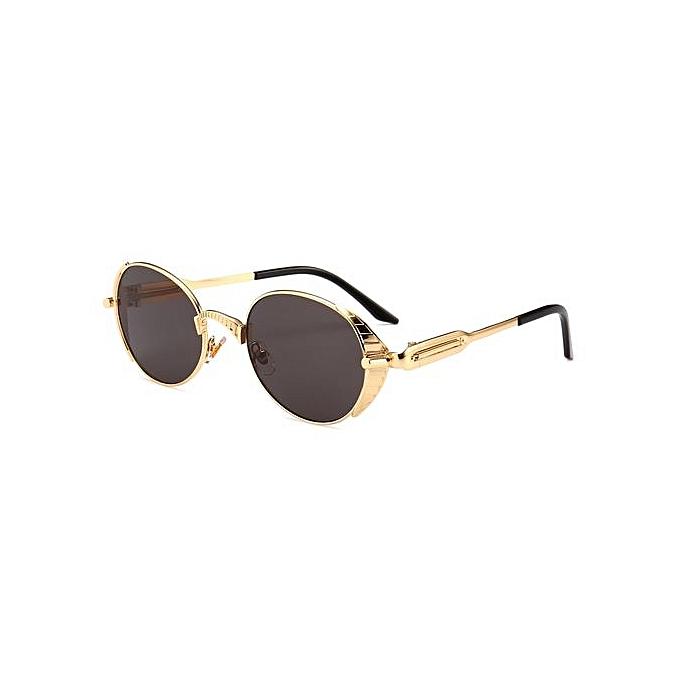 830fb0e6b2 Steampunk Sun Glasses Men Gold Frame Metal 2018 Oval Sunglasses Men  Steampunk Women Uv400-Gold
