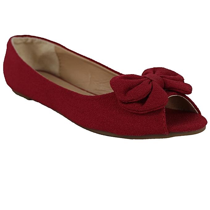 87cb9ed7f06 White Label Peep Toe Flats Shoes - Red