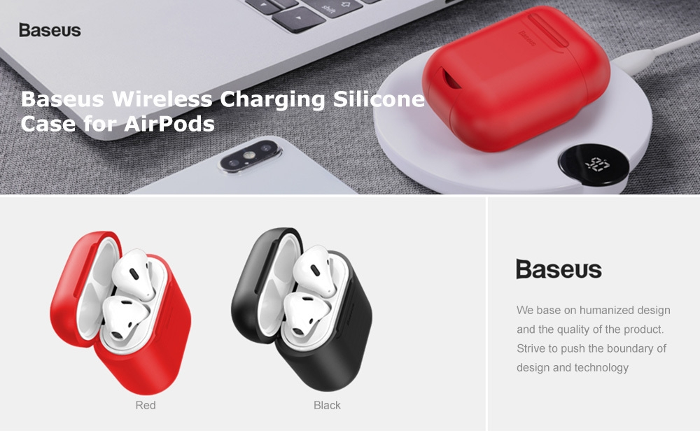 Baseus Silicone Protective Case Portable Wireless Charging for AirPods