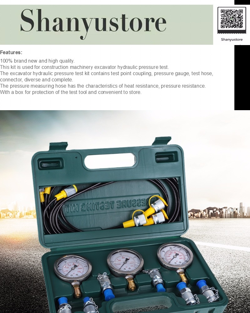 Hydraulic Pressure Test Excavator Hydraulic Pressure Test Kit with Testing Point Coupling and Gauge for Industrial Home Impprovement