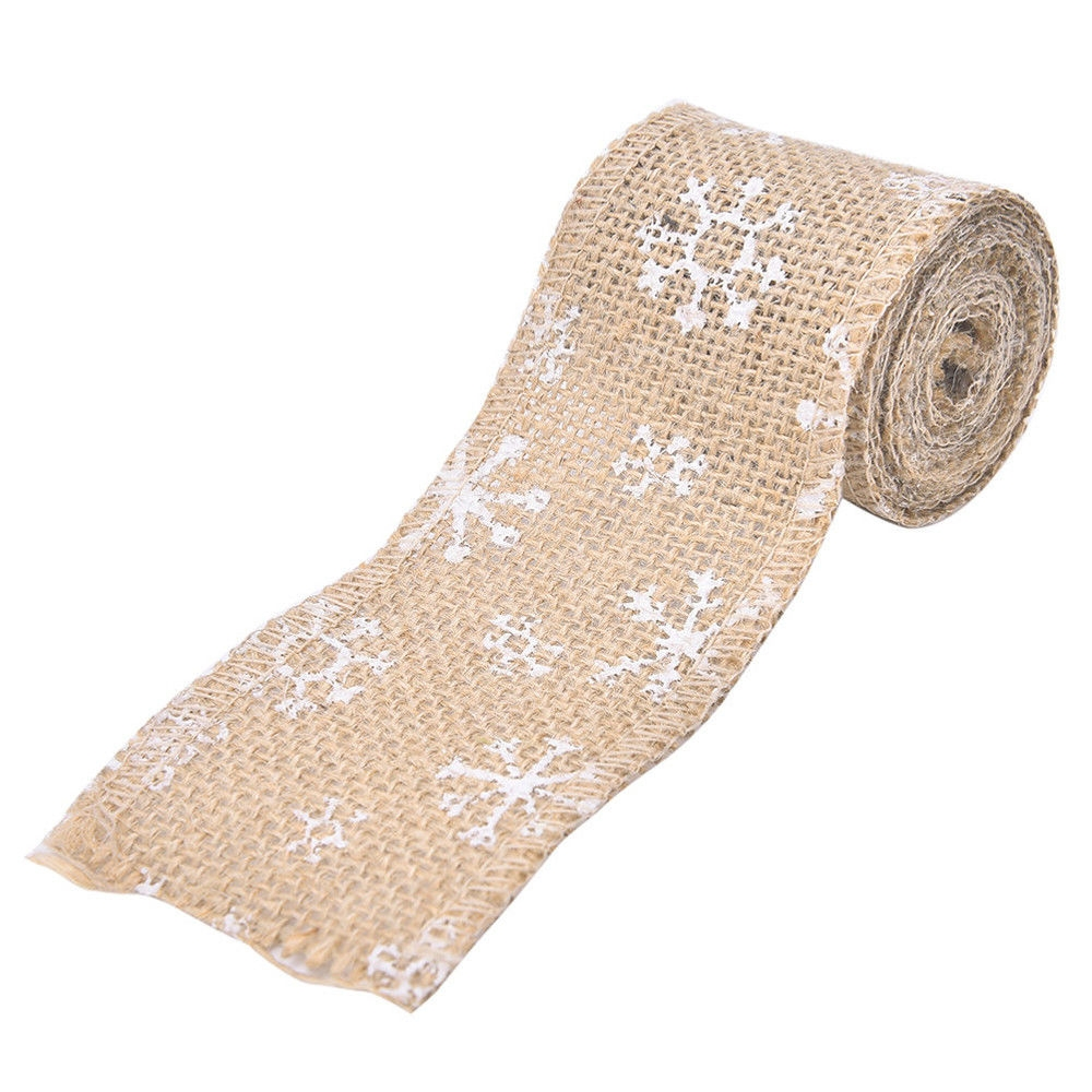 2M Christmas Jute Burlap Craft Ribbon Roll Sewing Cartoon DIY Decoration Wedding