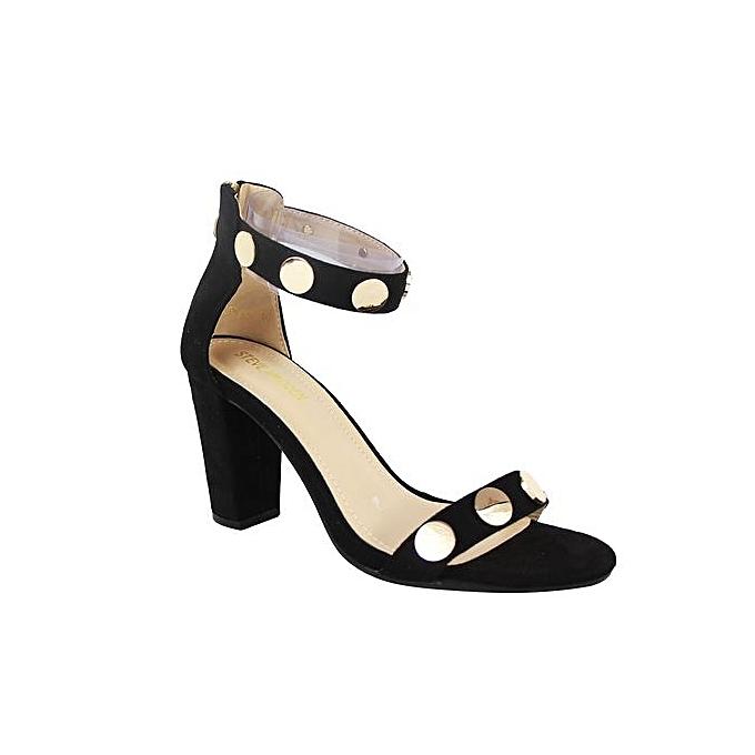 463d4053963 White Label Ankle Strap Block Heel Sandals - Black Gold