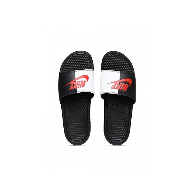 Nike Benassi Jdi Flip Flops Slides - Black White  c61b61f84ee3