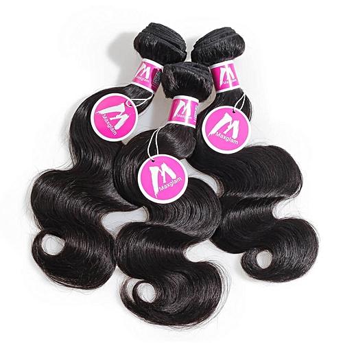 "Pure Virgin Peruvian Human Hair - 3 Piece - 12"" - Natural Black"