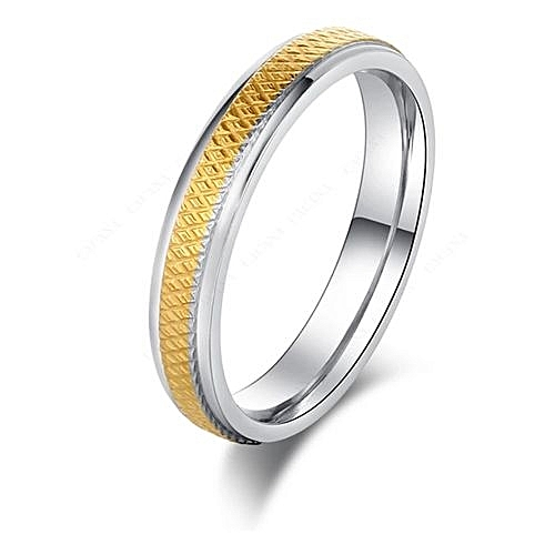 TRGL10 Titanium Ring with Gold Lining - Silver