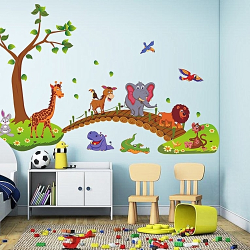 Image of: Amazon Com Generic Kawaii Big Jungle Animals Bridge Pvc Wall Stickers Kids Bedroom Wallpaper Multicolor Mixed Jumia Ghana Generic Kawaii Big Jungle Animals Bridge Pvc Wall Stickers Kids