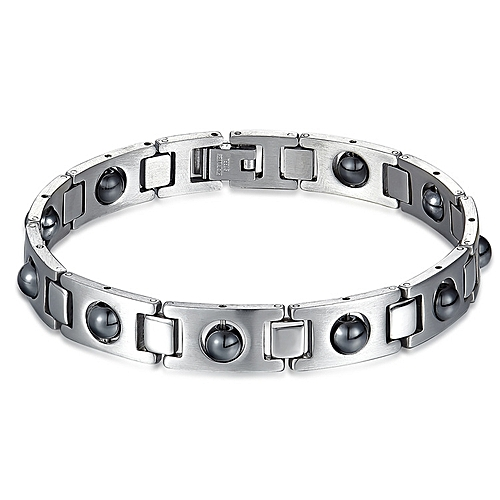 Titanium Steel With Magnetic Health Therapy Energy Bracelet - Silver
