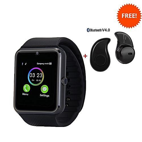 Buy White Label GT08 Smart Watch - Black + Free Bluetooth