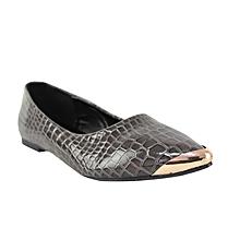 dde84ed0887 Croc-Skin Pointed Toe Ballerina Shoes - Grey