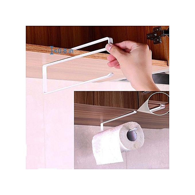 The Best 2pcs Paper Towel Holder Dispenser Under Cabinet Paper Roll Holder Rack Without Drilling For Kitchen Bathroom Easy To Use Bathroom Fixtures Paper Holders