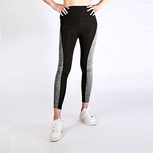 d24c71a3b Comfortable Women Fashion Black And Gray Paneled Plus Slimming Pants  Leggings For Running Yoga