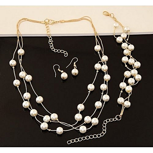 Lady Wedding Artificia Pearl Rhinestone Necklace Earrings Bracelets Jewelr Set