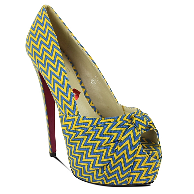 Hot Kiss African Print Peep Toe High Heel Shoes - Blue Yellow ... ed5882dc2f