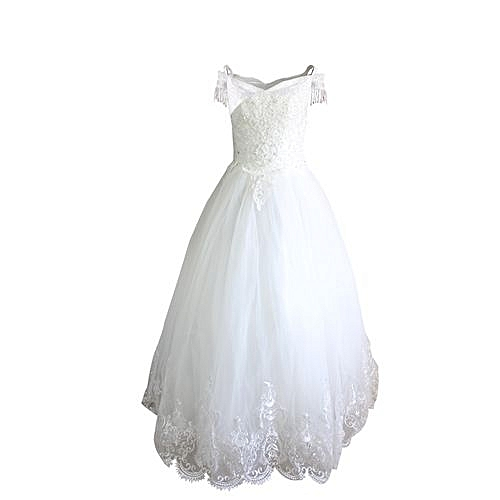 Precious Beaded Sequence Ball Gown - White
